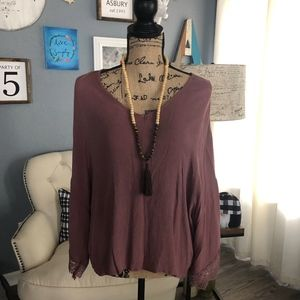 Charlotte Russe Mauve blouse with lace